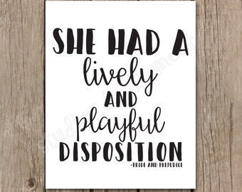 """Wall Art Printable """"Playful Disposition Quote"""" 8x10 Print"""