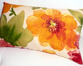 FREE SHIPPING 15x8 Outdoor  Vibrant Floral Lumbar Pillow