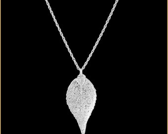 Real Evergreen Leaf Dipped In Silver Pendant - Real Dipped Leaf - In Gift Box