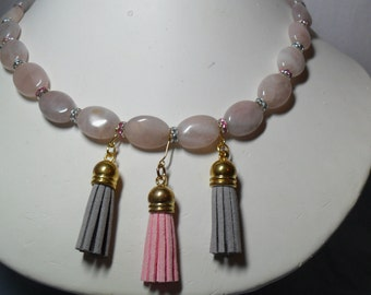 Pink and Grey Tassels, Crystals and Quartz   (06/26/2016)