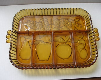 Vintage Amber Glass 5-Part Divided Relish Tray - Fruit Motif - Indiana Glass