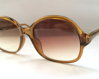 80s Vintage Viennaline Clear Brown Oval Round Frame Optyl Sunglasses