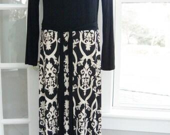 Tua Plus Size Black White Bohemian BOHO Maxi Damask Long Dress 1x 16