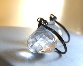 Crystal Earrings, Rock Crystal Quartz Earrings, Sterling Silver, Clear Gemstone Earrings, Diamond Like, April Birthstone - Ice Diamond