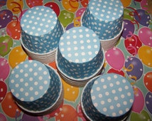 Treat/Portion Cups,  Soft Dusty Blue/ Polka Dots, Party Cups, Cupcake Baking 12 Polka Dots Treat Cups