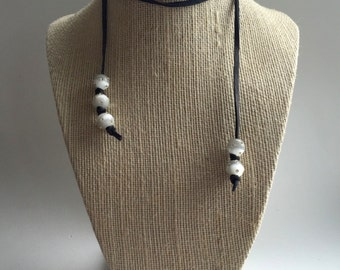 New! - Long deerskin lace modern triple wrap,choker style necklace
