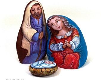 Nativity set - Hand painted stones by Ernestina Gallina - Christmas art - OOAK
