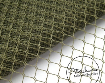 Vintage Veiling English 1960's / 1970's Birdcage Veil Millinery Fabric 1 yard - Olive Green
