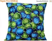 Christmas in July Sale Christmas Ornaments Pillow Cover Cushion Blue Green Decorative 16x16