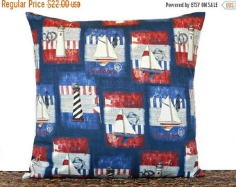 Christmas in July Sale Nautical Pillow Cover Cushion Ahoy Navy Blue Red White Sailboats Lighthouses Flags Anchors Seaboard Stripes Compass D