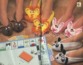 Children's animal slippers crochet pattern. Instant PDF download!