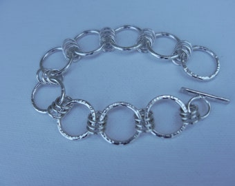Forged chain statement bracelet, sterling silver, elegant classic, artisan quality, unique fine jewelry