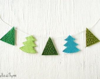 PDF Pattern - Fir Trees Felt Garland Pattern, Winter, Holidays, Christmas Felt Embroidery Garland Pattern