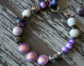 Unilsted - Bohemian Purple Bracelet - Rustic Purple Bracelet - Eclectic Jewelry - Deep Purple - Tribal - Bead Soup Jewelry