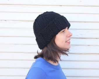 Hand knit wool blend basic hat with stretchy brim