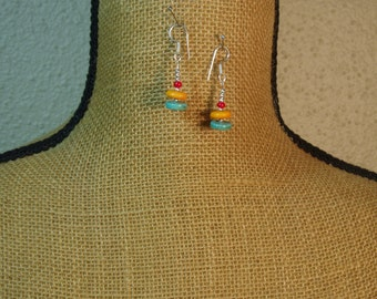 Blue, Yellow Turquoise,Red Coral, 925 Silver Earrings