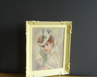 30% off SALE A Night Out - Vintage Lithograph of Woman in Ornate Frame - Strevens