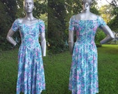 30% OFF Off the Shoulder 80s Sundress, Vintage Dress, 80s Dress, Floral Dress, 80s Party Dress, Vintage Sundress by Benson and Smith Size 6