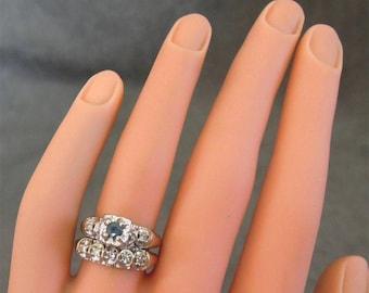 Vintage Diamond Sapphire Bridal Set White Gold