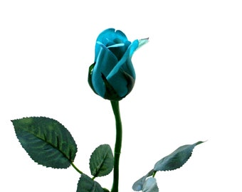 12 Turquoise Princess Rose Buds - Barely Blooming - Artificial Flowers, Silk Roses - PRE-ORDER