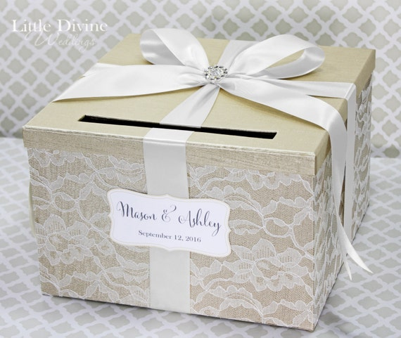 Wedding Card Box Champagne White Lace Card Holder Custom Made