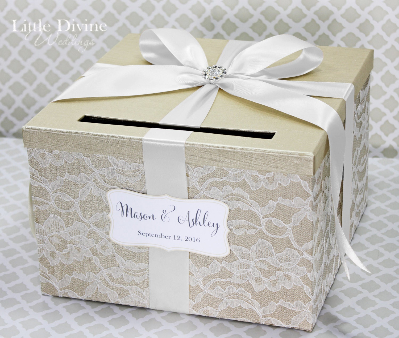 wedding card box champagne white lace card holder custom made