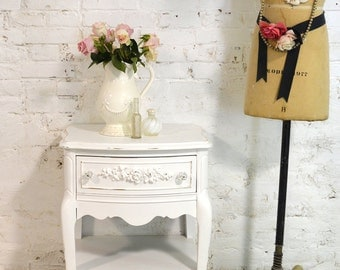 Painted Cottage Chic Shabby Romantic French Night Table NT840