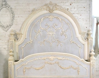 Painted Cottage Chic Shabby Romantic Bed King  3000