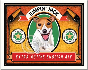 8x10 Jack Russell Art - Jumpin' Jack - Extra Active English Ale - Art print by Krista Brooks
