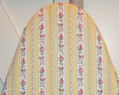 Bright and Cheerful Red Roses and Yellow Stripe Newly Handmade Vintage Pillow Ticking Ironing Board Cover