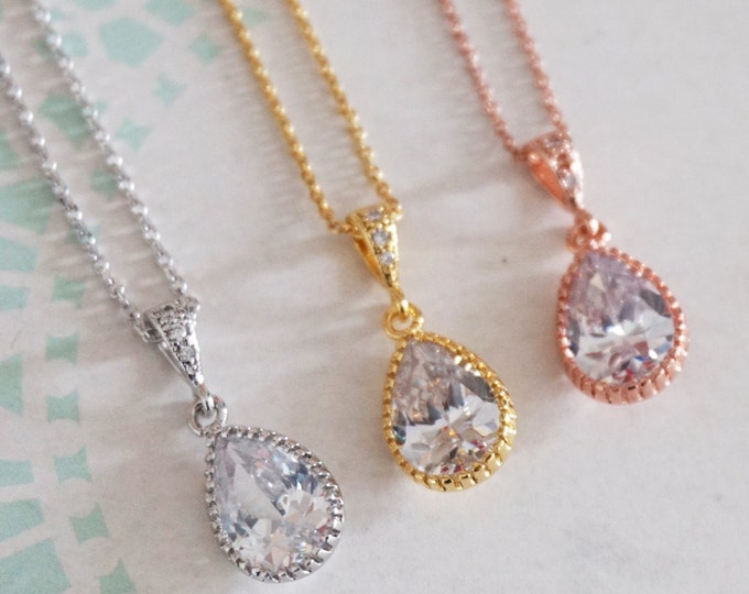 Suzette - Crystal Teardrop Silver Necklace, gifts for her, Simple White Wedding, Bridal, Bridesmaid Jewelry, Cubic Zirconia Crystal Jewelry