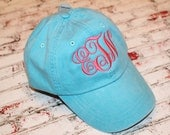 Ladies Monogrammed Baseball Cap. Personalized. Your choice of thread/hat color. Embroidered. For Mom, Bride Bridesmaid summer spring beach