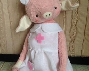 12 inch Artist Handmade Viscose Teddy Piglet Nurse Elisa by Sasha Pokrass
