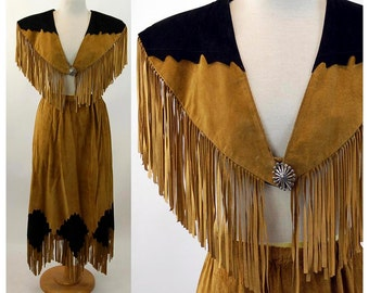 1980s leather skirt and capelet shawl with fringe western cowgirl southwestern Size M brown black Laether City