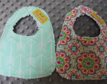 2 Bibs Gift Set- Girl Bib Set- Girl Baby Shower- Mint Arrow Bib- Colorful Bib- Baby Shower Gift- Chenille Bibs- Super Absorbent Bibs