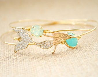 Mermaid Bangle Bracelet Set - Minimalist Bracelet, Boho Bracelets, Beach Bracelets, Nautical, Mint, Turquoise, Opal