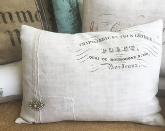 French script cushion, vintage linen