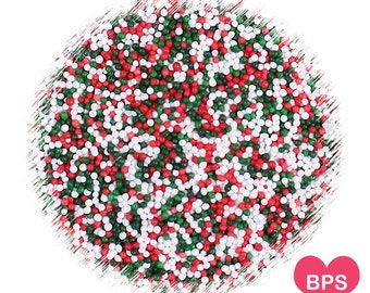 Classic Christmas Nonpareil Sprinkles, Christmas Sprinkles, Christmas Cookie Sprinkles, Holiday Sprinkles, Christmas 100's & 1000's