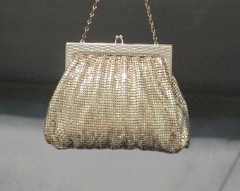 Vintage Silver Mesh Evening Bag / 40's Whiting & Davis Purse Link Chain Handle Basketweave Silver Plated Metal Frame Wedding Ladies Fashion