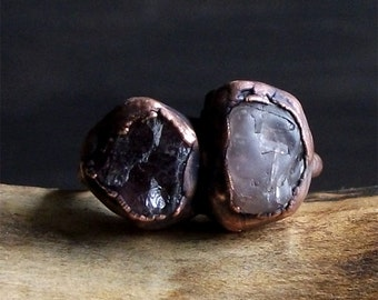 Natural Stone Ring Raw Crystal Spinel Ring Copper Midwest Alchemy Rough Stone Jewelry Size 7