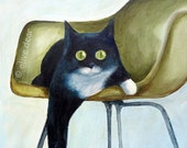 Cat on Eames Chair,  LARGE pigment print