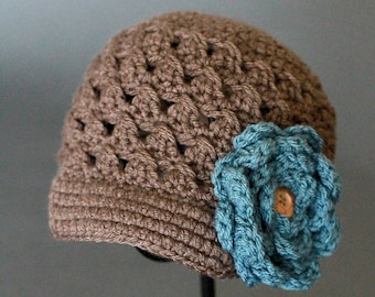 Crochet PATTERN Chloe Newsboy with Rose 5  Crochet Newsboy Hat Pattern Includes Sizes for Baby, Toddler, Child, Girls and Ladies