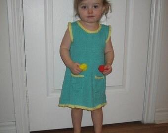 Cotton Child Dress, Baby Cotton Dress, Two Color Dress, Cotton Sleeveless Dress, Cotton Blue Dress, Toddler Cotton Dress, Dress Pock