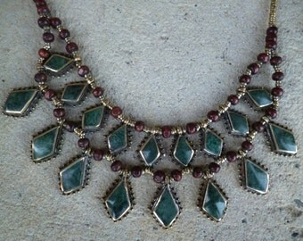 Pretty Deep Green Kuchi Tribal Necklace. Layers. Diamond shaped. Hand made. Collier