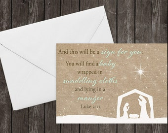 Christmas Cards, Burlap, Country Chic, Stars in the Sky, Scripture, Merry Christmas Cards, Spiritual, Set of 12 Printed Cards