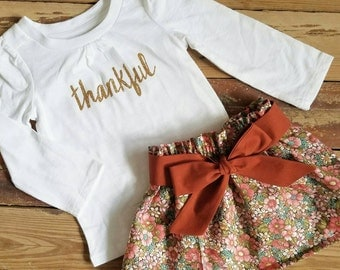 Thanksgiving Outfit- Thankful-Baby Toddler Girls Skirt Set- Gold -Vintage Brown Floral High Waist Skirt and Sash