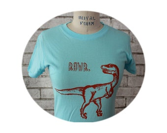 Ladies Dinosaur Tshirt, Women, Juniors, T Shirt, Powder Blue, Velociraptor, Rawr, Cotton Crewneck, Graphic Tee
