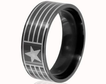 8mm Star and Stripes Patriotic Ring, Black Zirconium Ring: BZ-8F-MS-StarandStripes