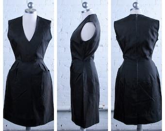 Vintage 1960s Black Nylon Cocktail Dress