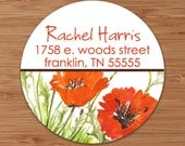 Red Poppies - Custom Address Labels or Stickers